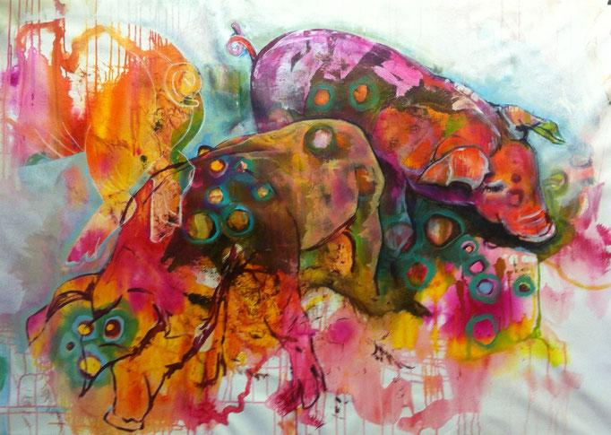 Bio-Schweine -  Acryl, Tusche, Kohle, Kreide auf Leinwand   100x140 cm