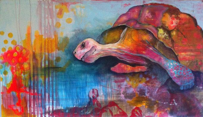 """Lonesome George"" -  Acryl, Tusche, Kohle, Kreide auf Leinwand   110x190 cm"