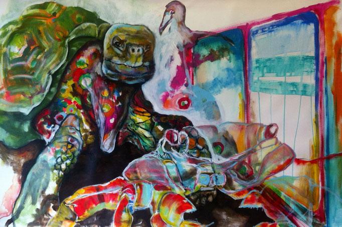 Zoo -  Acryl, Tusche, Kohle, Kreide auf Leinwand   100x140 cm