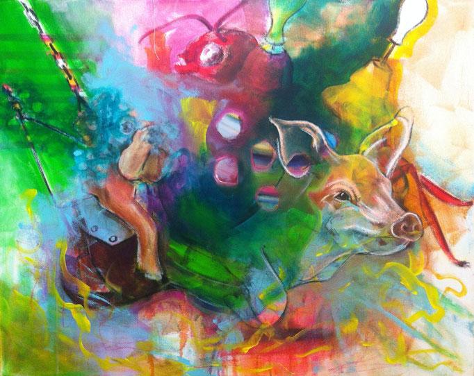 Schweinehund -  Acryl, Kohle, Kreide auf Leinwand   80x100 cm