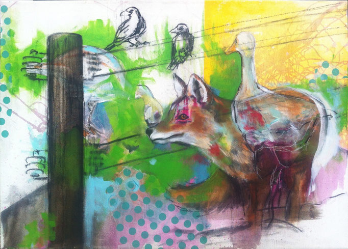 Grünflächennutzung -  Acryl, Kohle, Kreide auf Leinwand   100 cm x 140 cm