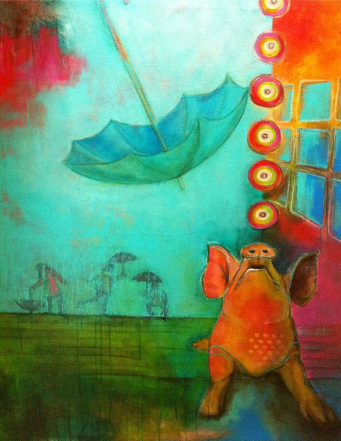 Singin' in the rain -  Acryl, Kohle, Kreide auf Leinwand   120x100 cm