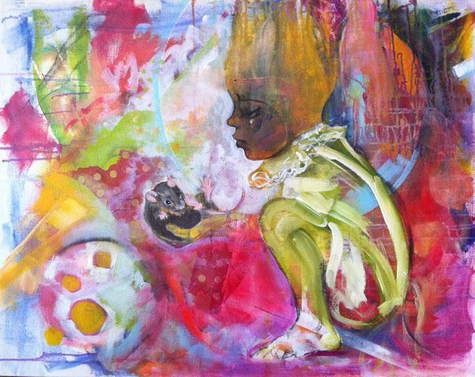 Von Löwenzahn und Achtsamkeit -  Acryl,  Kohle, Kreide auf Leinwand   80x100 cm
