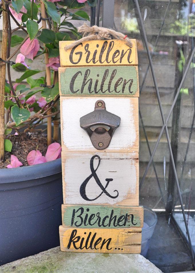 Nr. 4   Grillen Chillen & Bierchen killen   ca. 12/34cm  Fr. 48.-