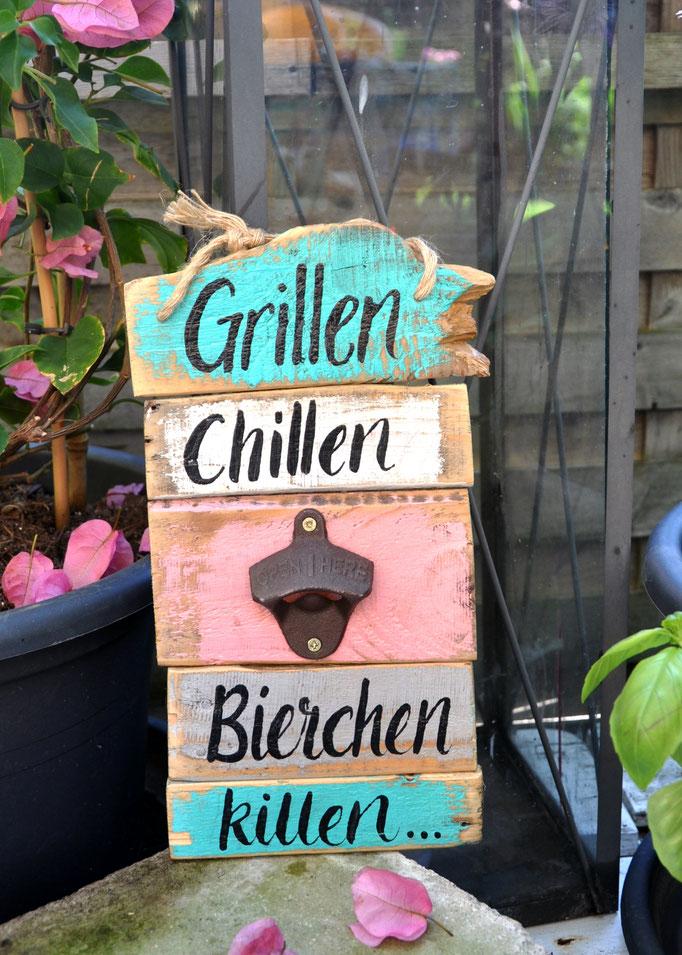 Nr. 6    Grillen Chillen & Bierchen killen   ca. 16/30cm  Fr. 42.-