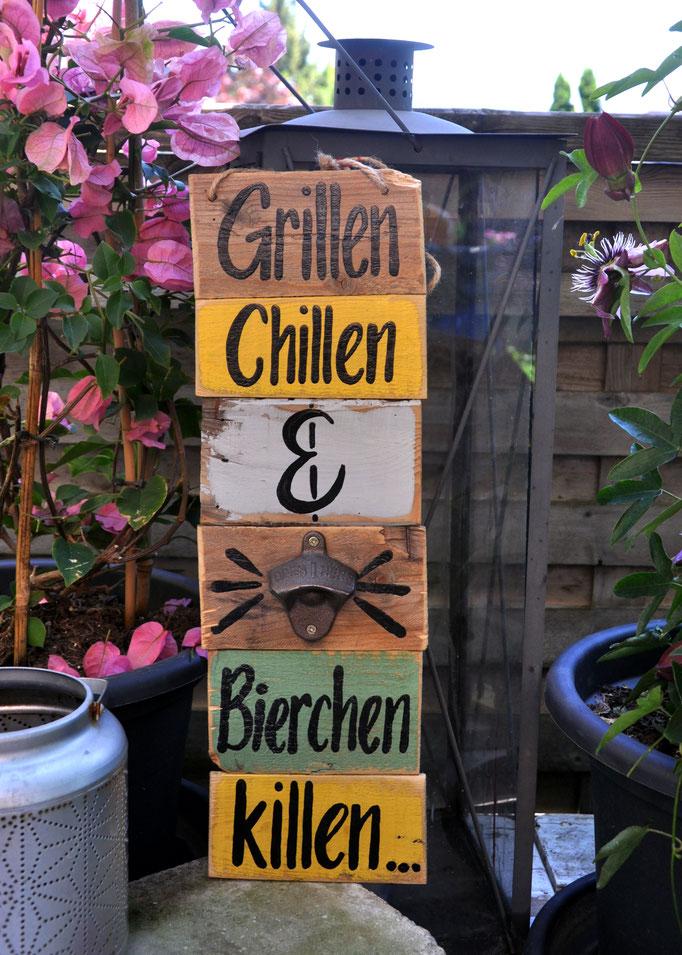 Nr.  5    Grillen Chillen & Bierchen killen   ca. 15/48cm  Fr. 56.-