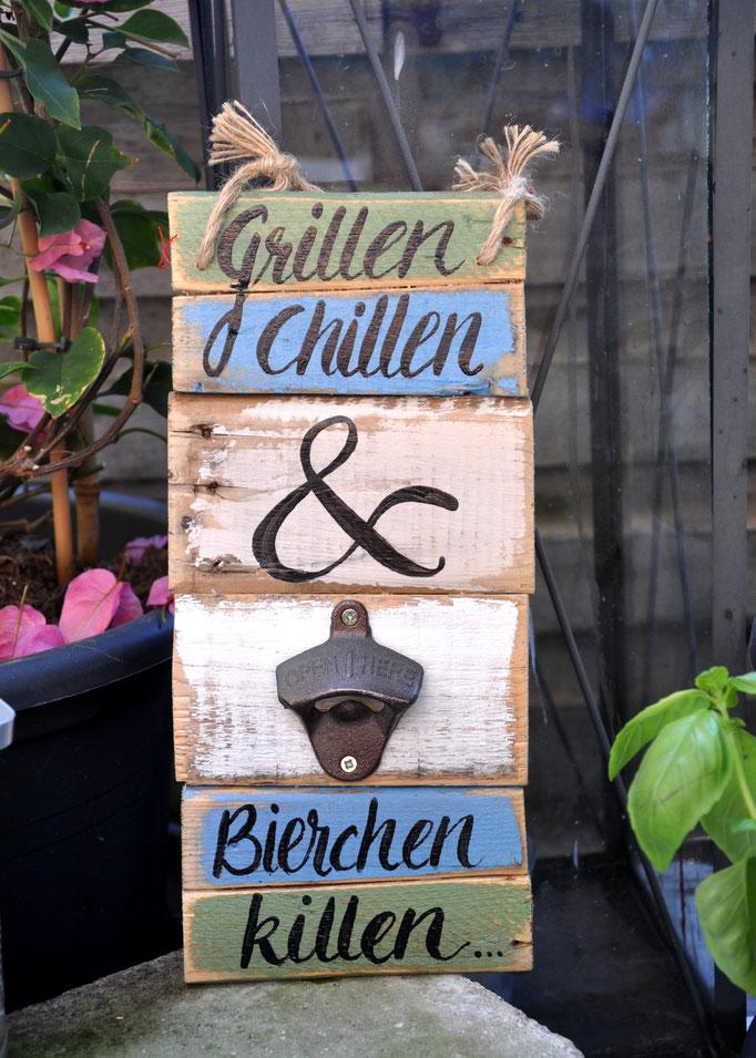 Nr.  3    Grillen Chillen & Bierchen killen   ca. 14/32cm  Fr. 48.-