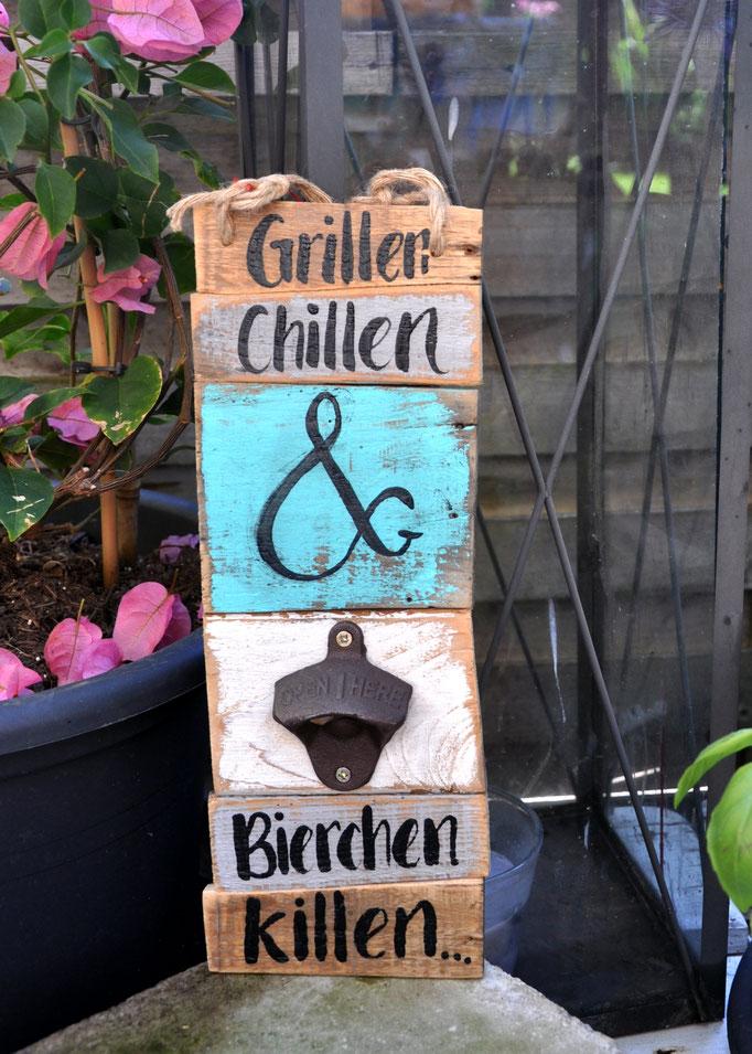 Nr. 1    Grillen Chillen & Bierchen killen   ca. 12/34cm  Fr. 48.-