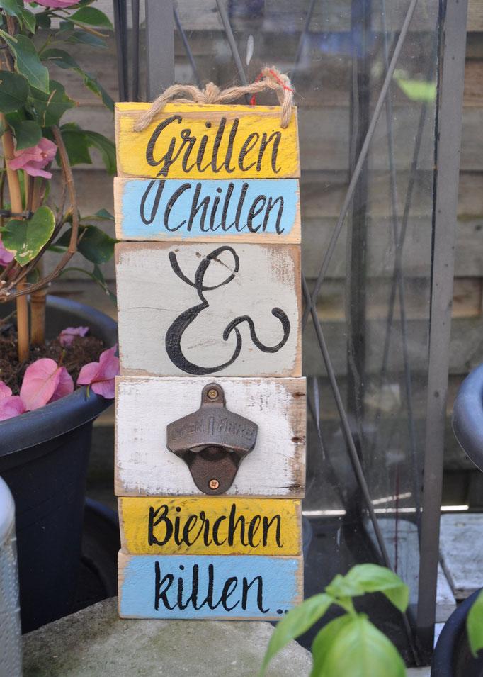 Nr.  2    Grillen Chillen & Bierchen killen   ca. 12/34cm  Fr. 48.-