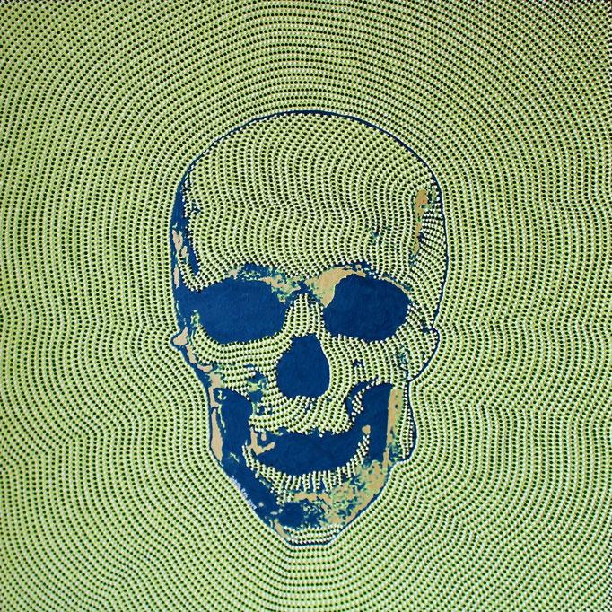 Blue skull on green (2019) - 120 x 120 cm - Acryl auf Leinwand