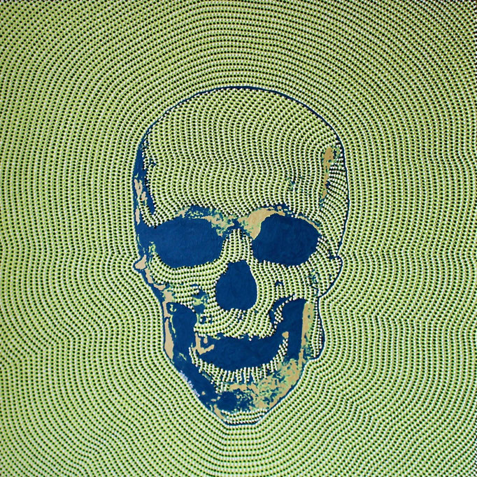 Blue skull on green (2019) - 120 x 120 cm - Acryl auf Leinwand