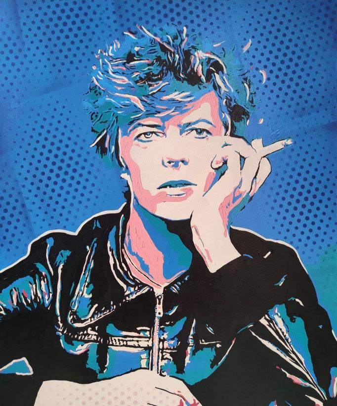 David Bowie holding a cigarette (2021) - 80 x 60 cm - Acryl auf Leinwand