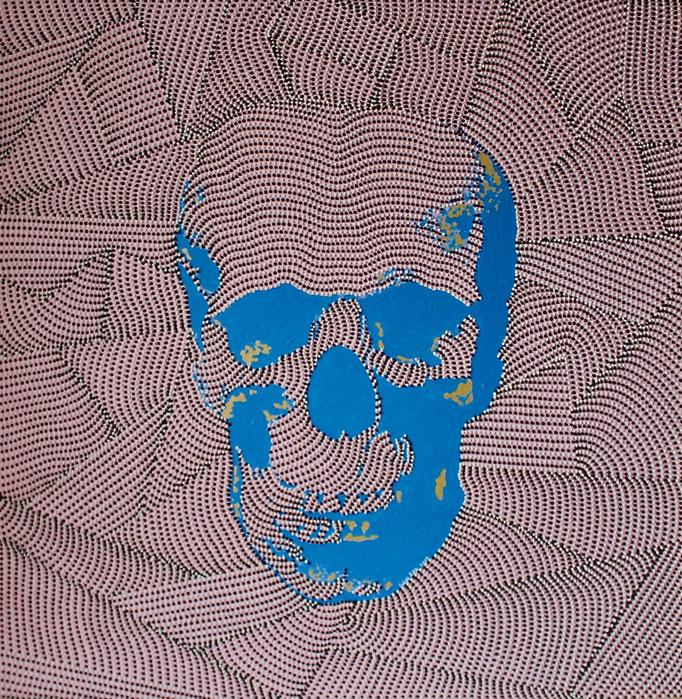 Blue skull on pink (2019) - 120 x 120 cm - Acryl auf Leinwand