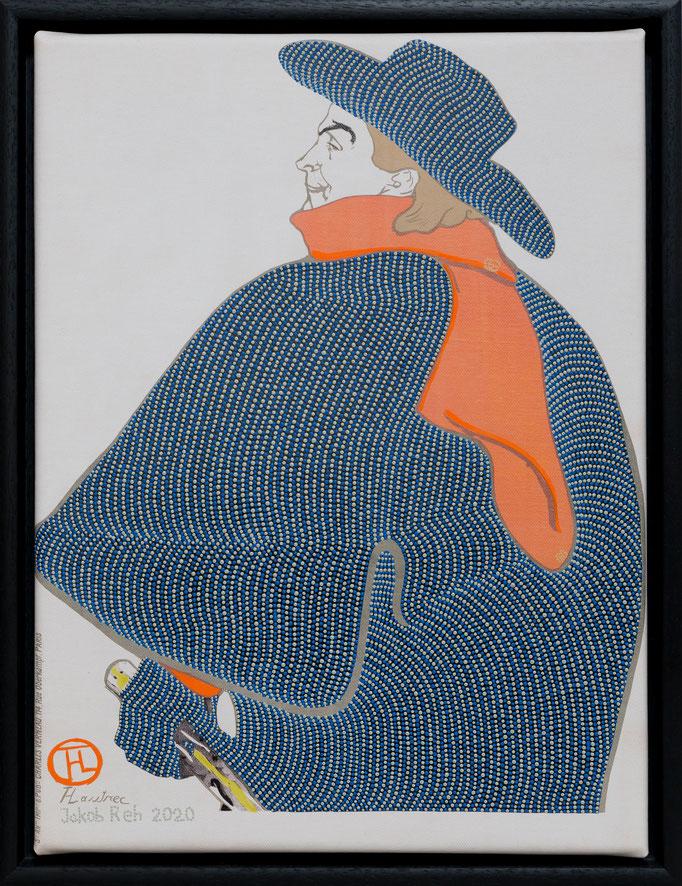 Les Chansonniers de Mortrmartre - Aristide Bruant mit Gucci-Schal (2020) - Acryl auf Kunstdruck