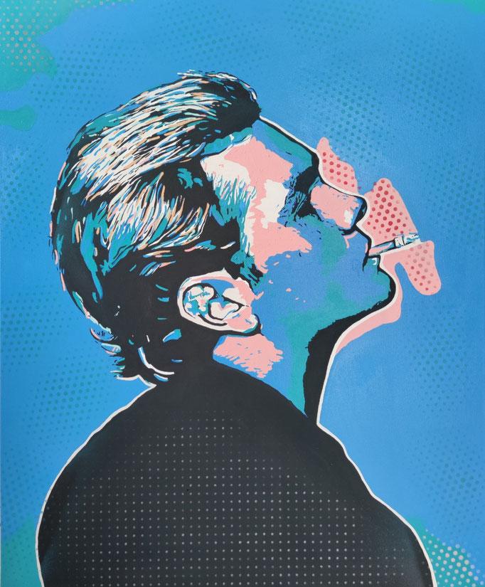 Leon Löwentraut smokin´ a cigarette (2021) - 110 x 90 cm - Acryl auf Leinwand