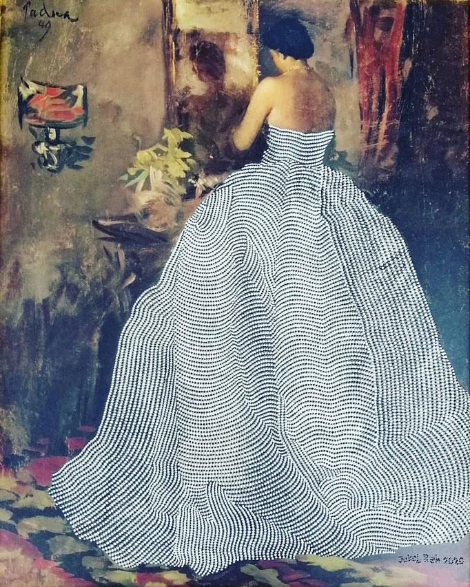 Femme devant le miroir (2020) - 65 x 53 cm - Acryl auf Kunstdruck