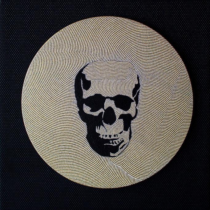 Golden skull (2019) - 50 x 50 cm - Acryl auf Leinwand