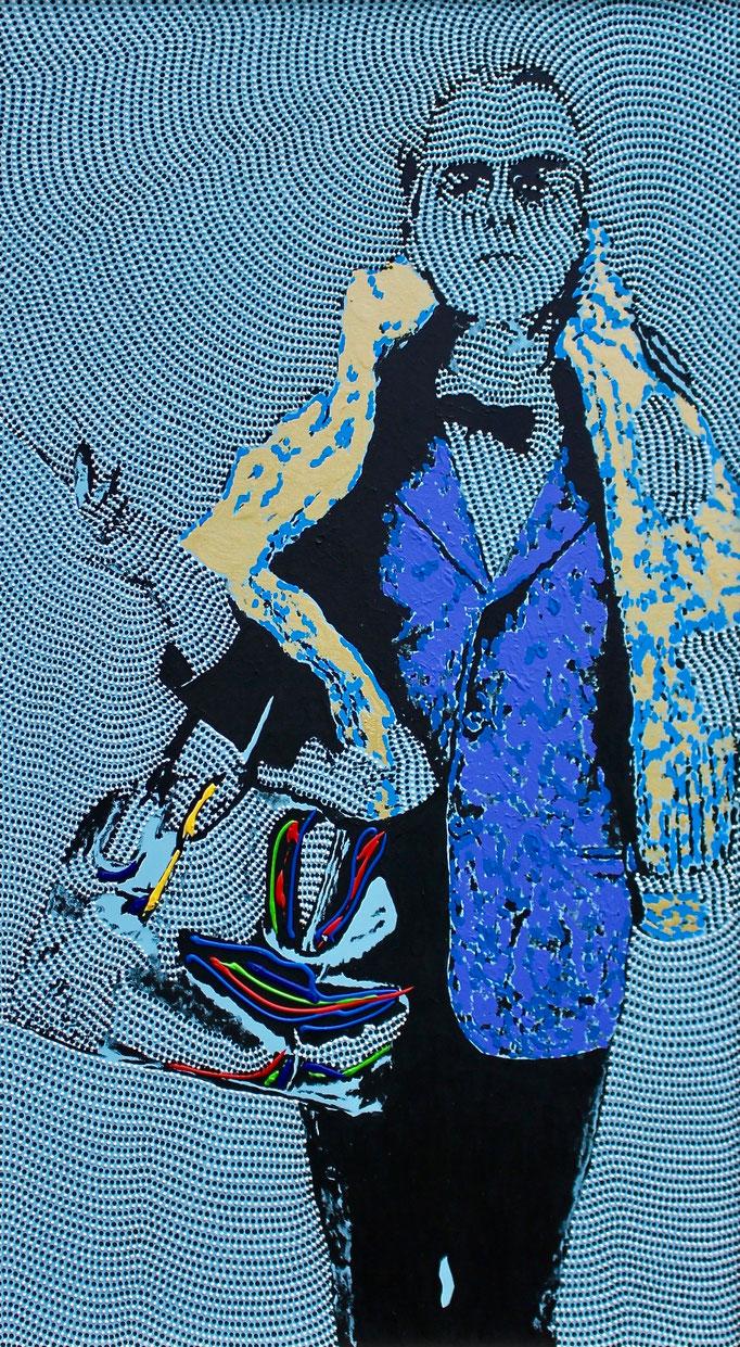 Shopping Queen (Truman Capote) - Man with a purse (2019) - 84 x 150 cm - Acryl und Bauacryl auf Leinwand