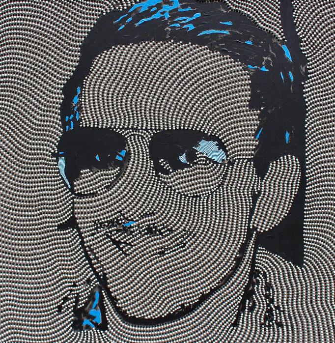 The smiling workman (2019) - 80 x 80 cm - Acryl auf Leinwand