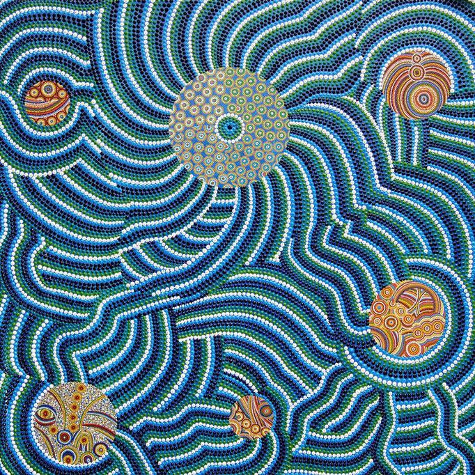 à  l´unisson (2012) - 75 x 75 cm - Öl, Acryl und Lack auf Leinwand