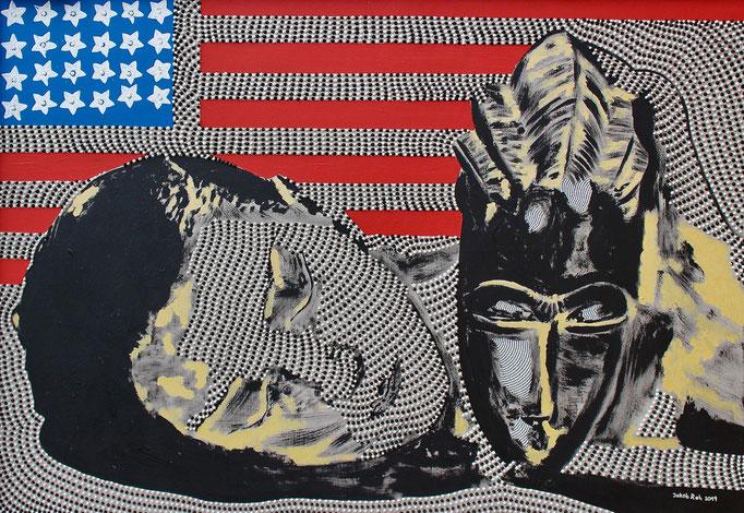 Noir et blanche (2019) - 100 x 70 cm - Acryl auf Leinwand