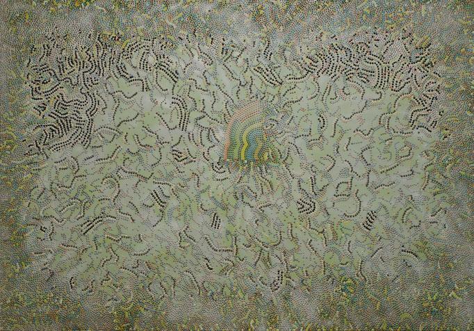 Spring Silkworms (2014) - 200 x 140 cm - Acryl und Lack auf Leinwand