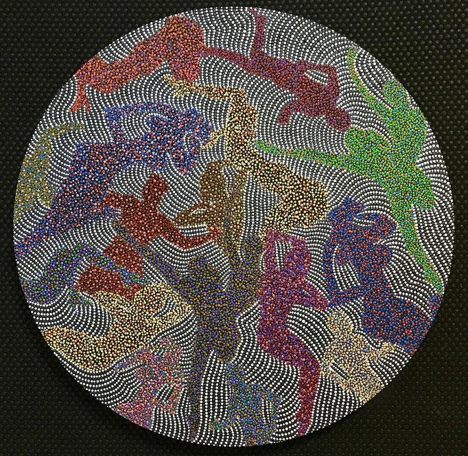 Der ewige Kreis des Lebens (2019) - 50 x 50 cm - Acryl auf Leinwand