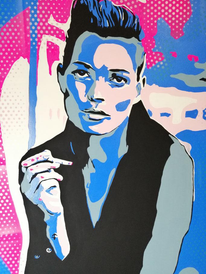 Kate Moss holding a cigarette (2020) - 100 x 80 cm - Acryl auf Leinwand