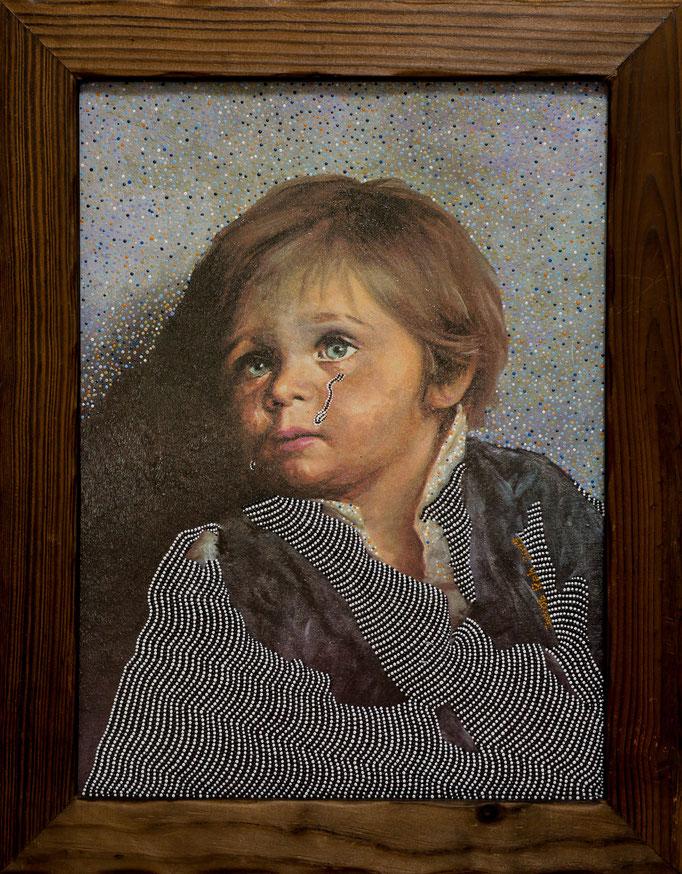 Crying Boy (2019) - 47 x 36,5 cm - Acryl auf Kunstdruck