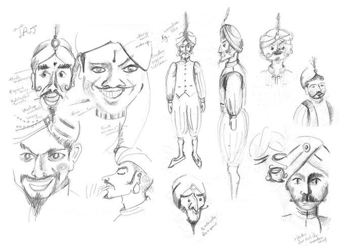 Character development drawings for Taj Mirage