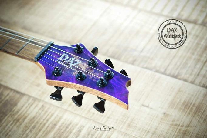 Création tête de guitare Purple six