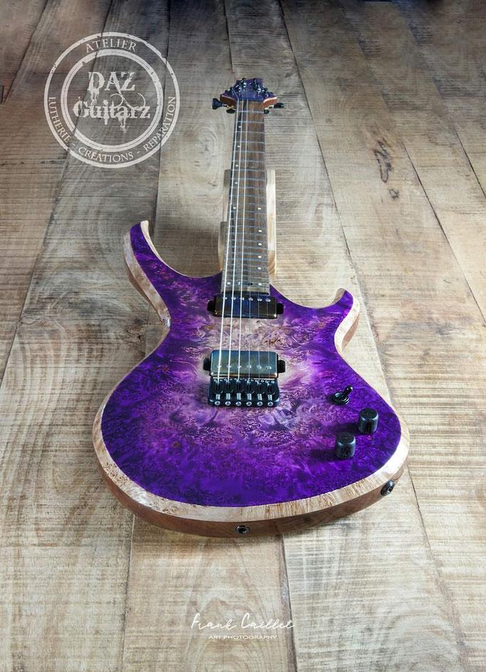 Création guitare Purple six vue du corps