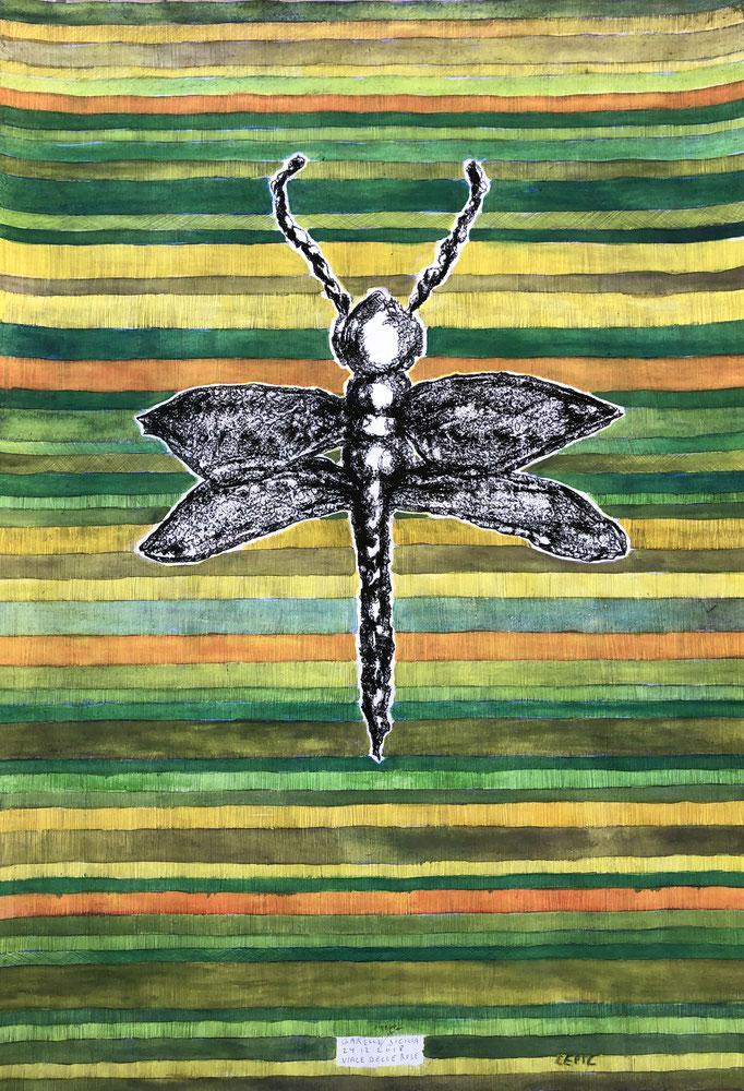 DEMOISELLE SABBIA, SICILIA        Graphit, Ölkreide und Aquarell auf Papier - 70 x 29 cm