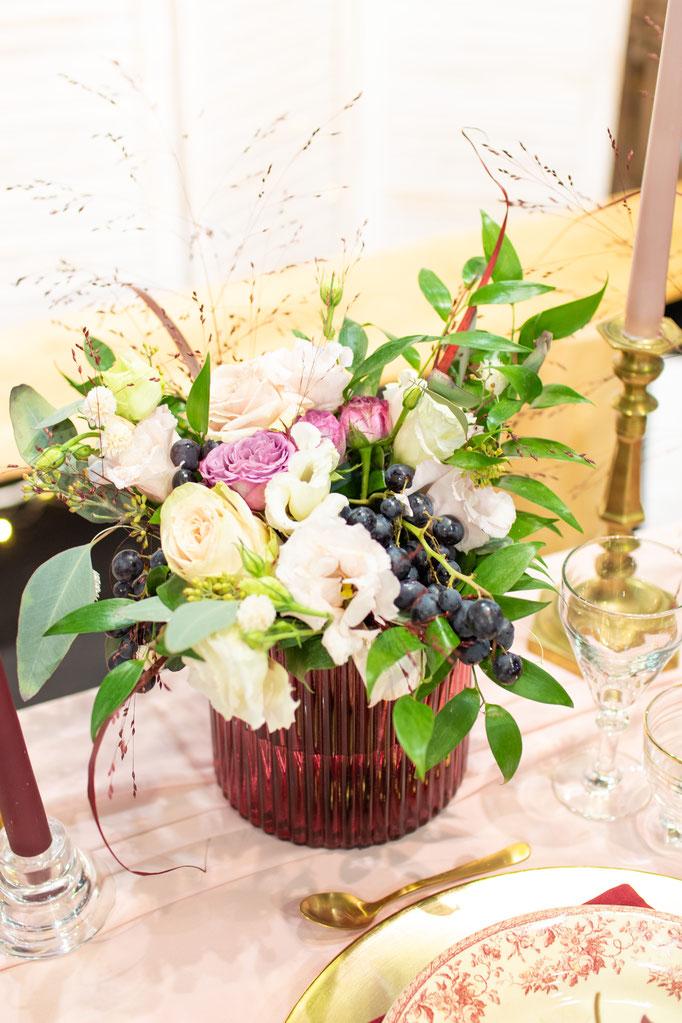 Décoration florale mariage vintage champêtre chic
