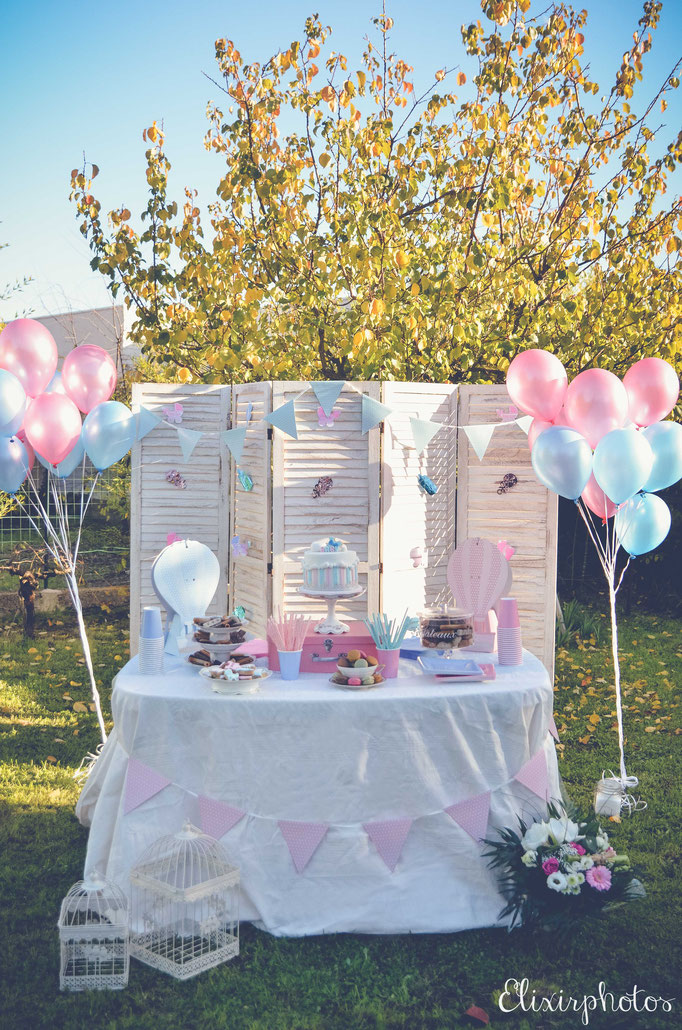 sweet table bébé gender reveal party