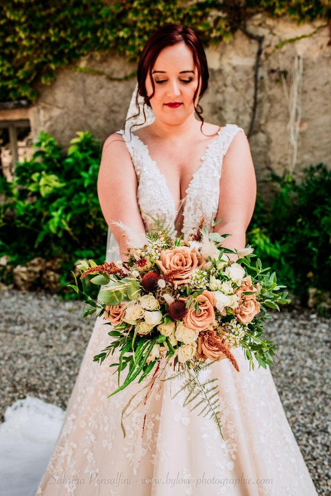 Bouquet de mariée champêtre terracotta nude