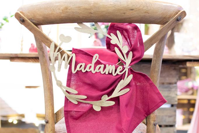 madame bois mariage chaise décoration