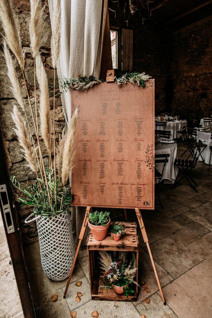 Plan de table champêtre rustique pampa
