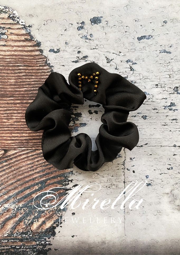 black scrunchie with golden glass beads