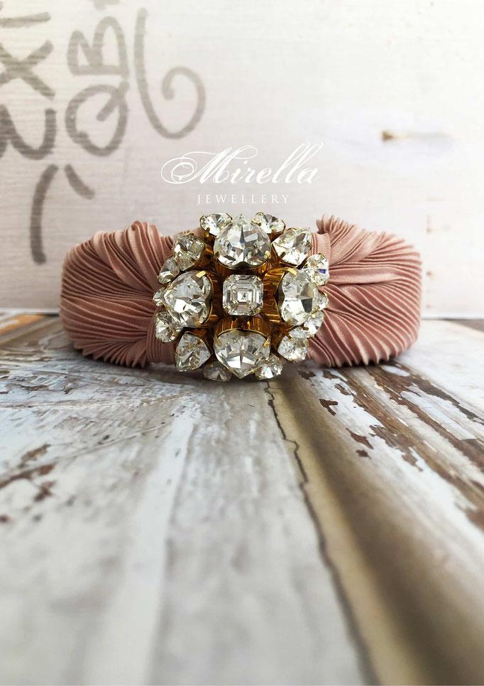 Mrs. Rosebery delicate pink Headband with Swarovski crystals