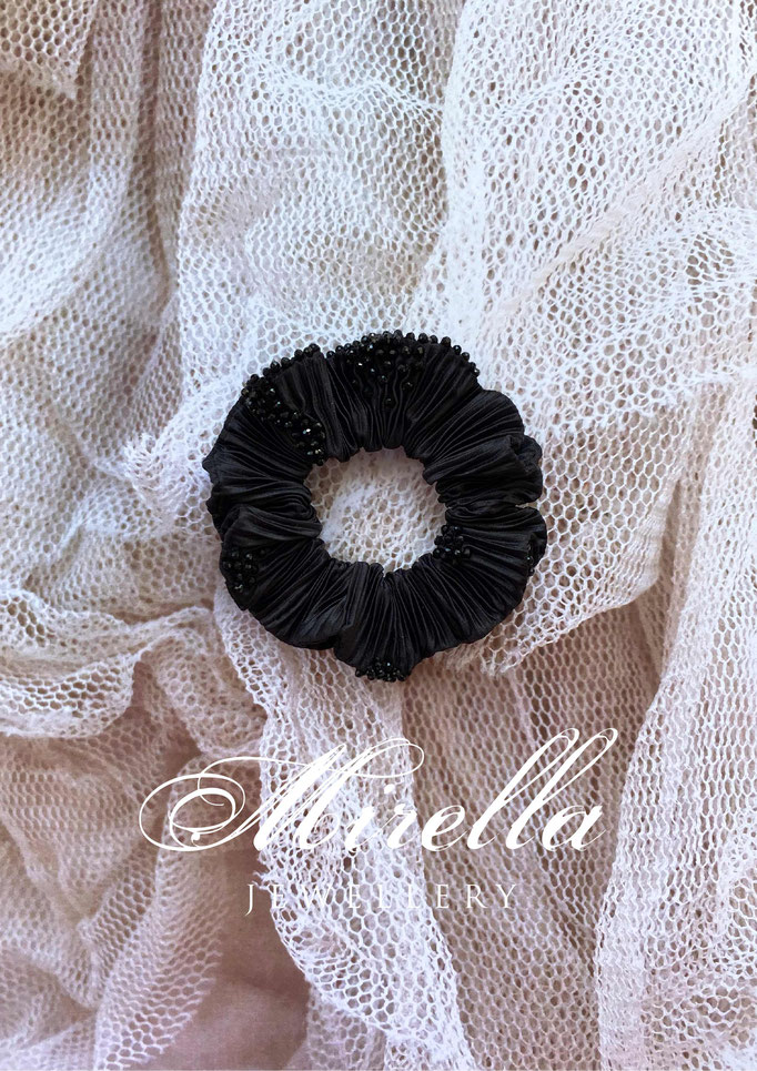 black scrunchie with black glass beads