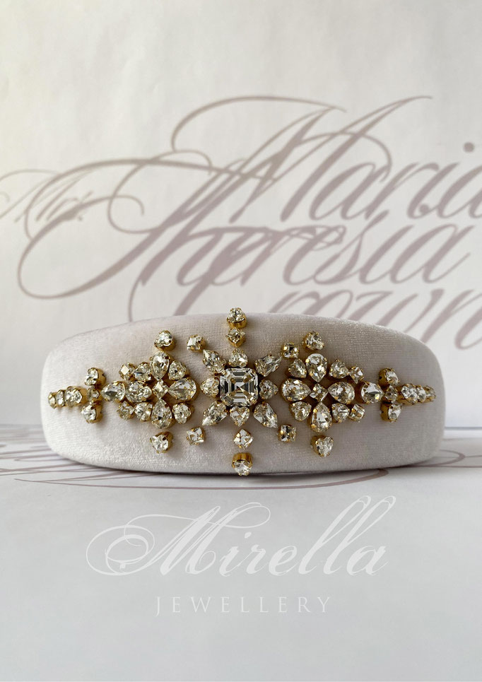 Mrs. Maria Theresia Crown Headband with Swarovski crystals