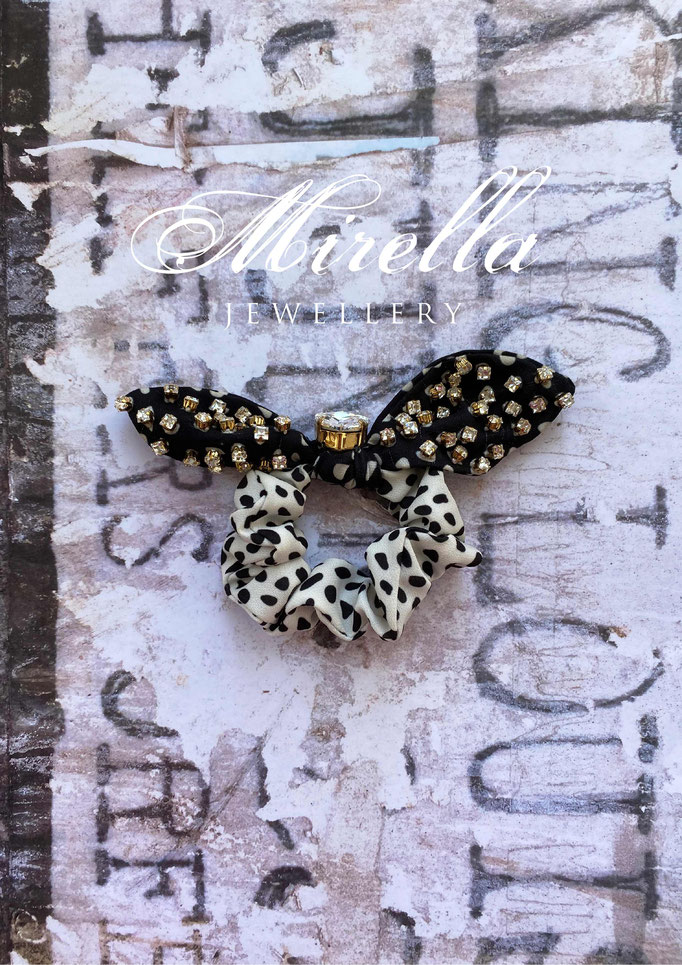 black and white scrunchie with dots and Swarovski crystals