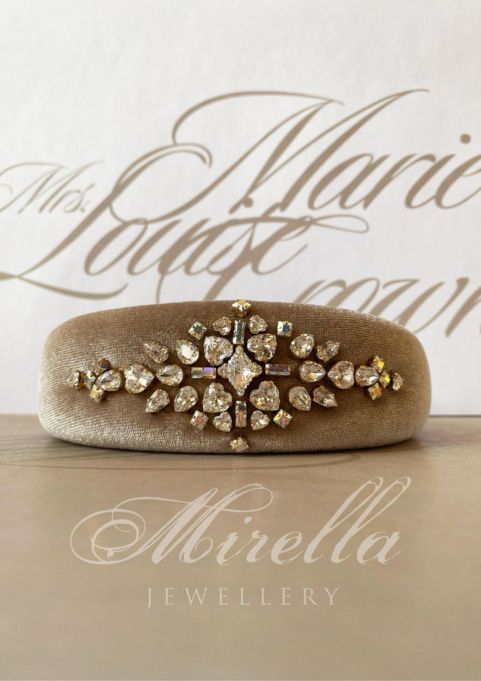 Mrs. Marie Louise Crown Headband with Swarovski crystals