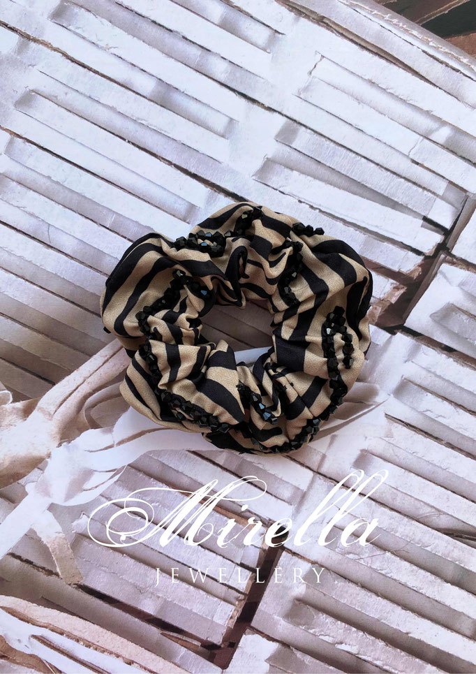 animal print scrunchie with black glass beads