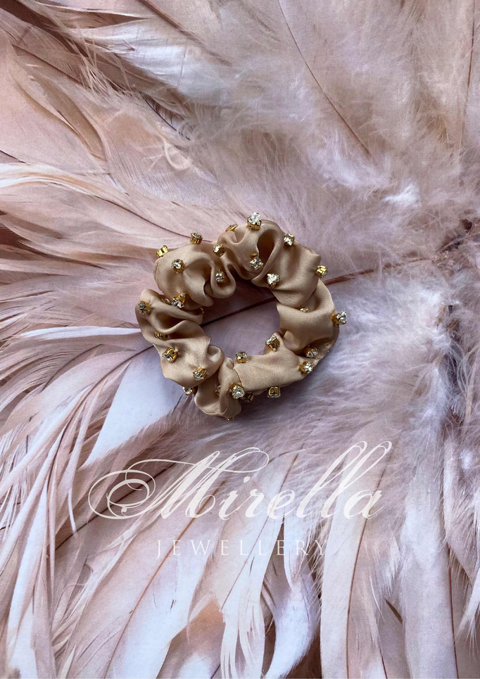 rose beige scrunchie with Swarovski crystals
