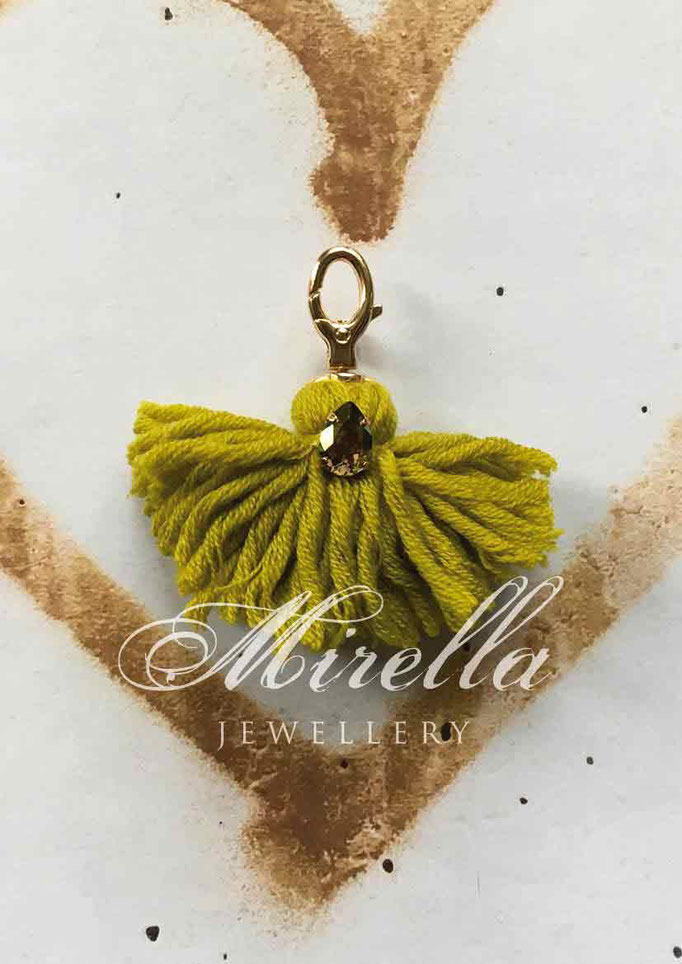 yellow-greenish bag charm