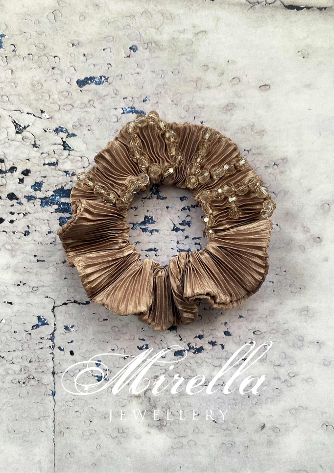 brown greiges scrunchie with glass beads