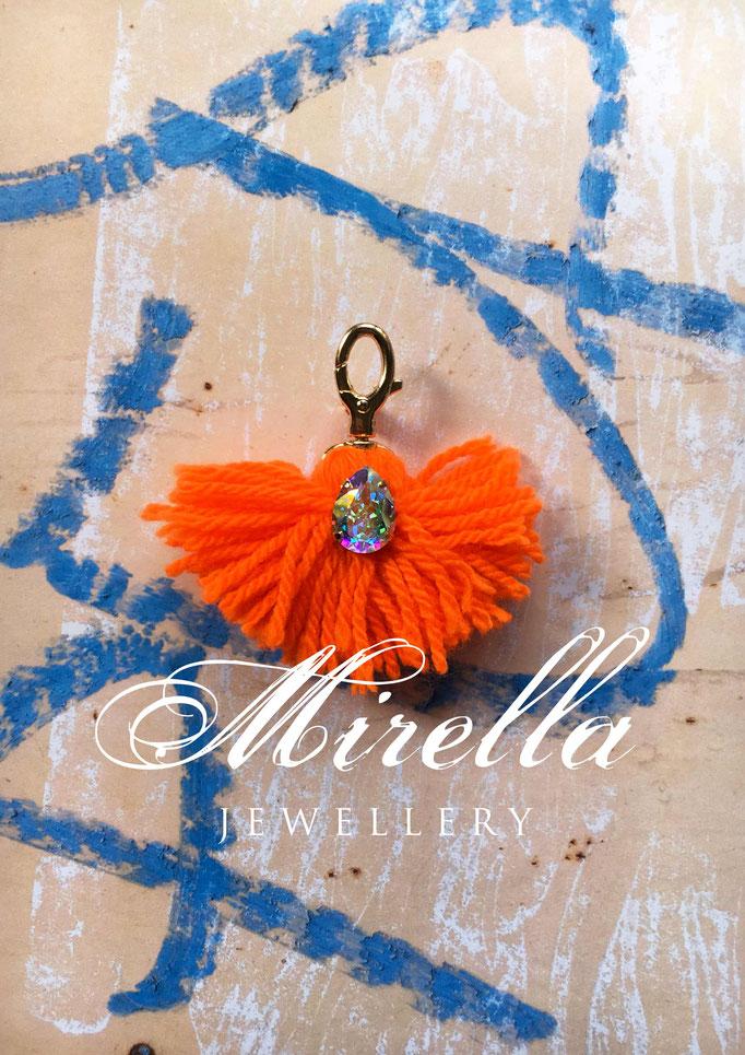 neon orange bag charm
