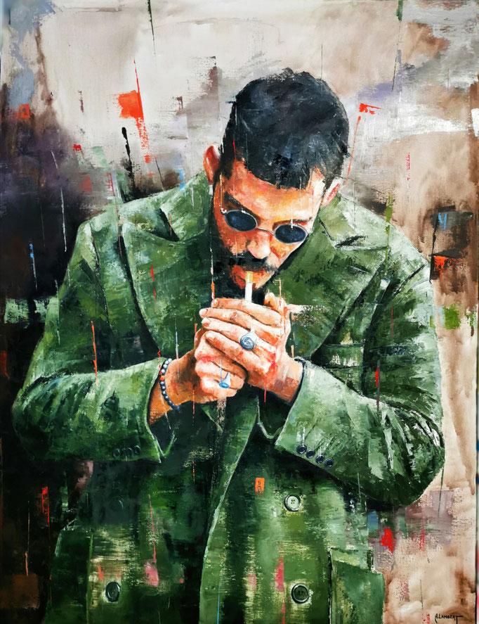 L'homme au veston - 116 X 89 cm - Huile sur toile